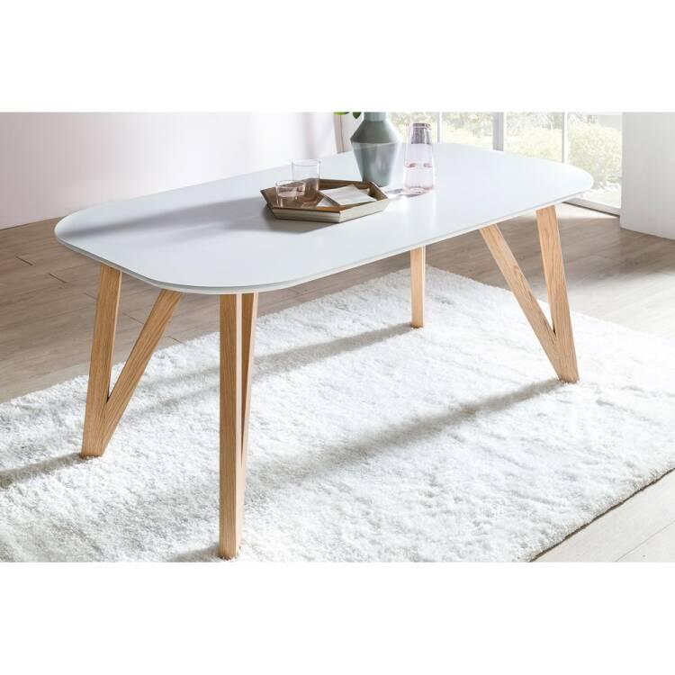 Dining Table White Matt Oval W D H 180 90 76cm