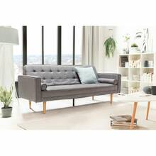 Scandinavian style sofa bed incl. 2 pillows in gray, W /...