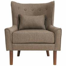 Wing armchair in taupe fabric, oak legs - W / D / H:...