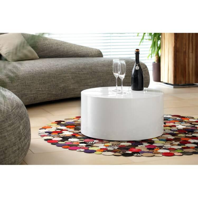 Coffee Table Round White High Gloss W D H 60 60 30cm