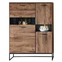 Highboard im Industrial Design in Haveleiche Cognac mit...