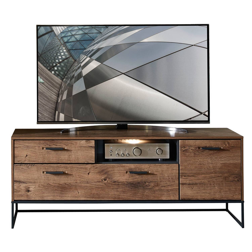 TV-Lowboard im Industrial Design in Haveleiche Cognac mit graphit MINNEAPOLIS-55 inkl. LED-Beleuchtung B/H/T ca: 156/62/48 cm