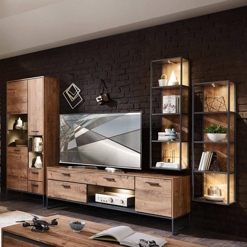Industrial Design Tv Wohnwand Minneapolis 55 In Haveleiche Cognac Deko