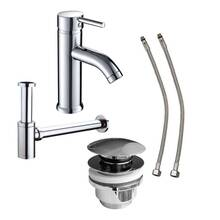 Washbasin connection economy set with fitting, siphon,...