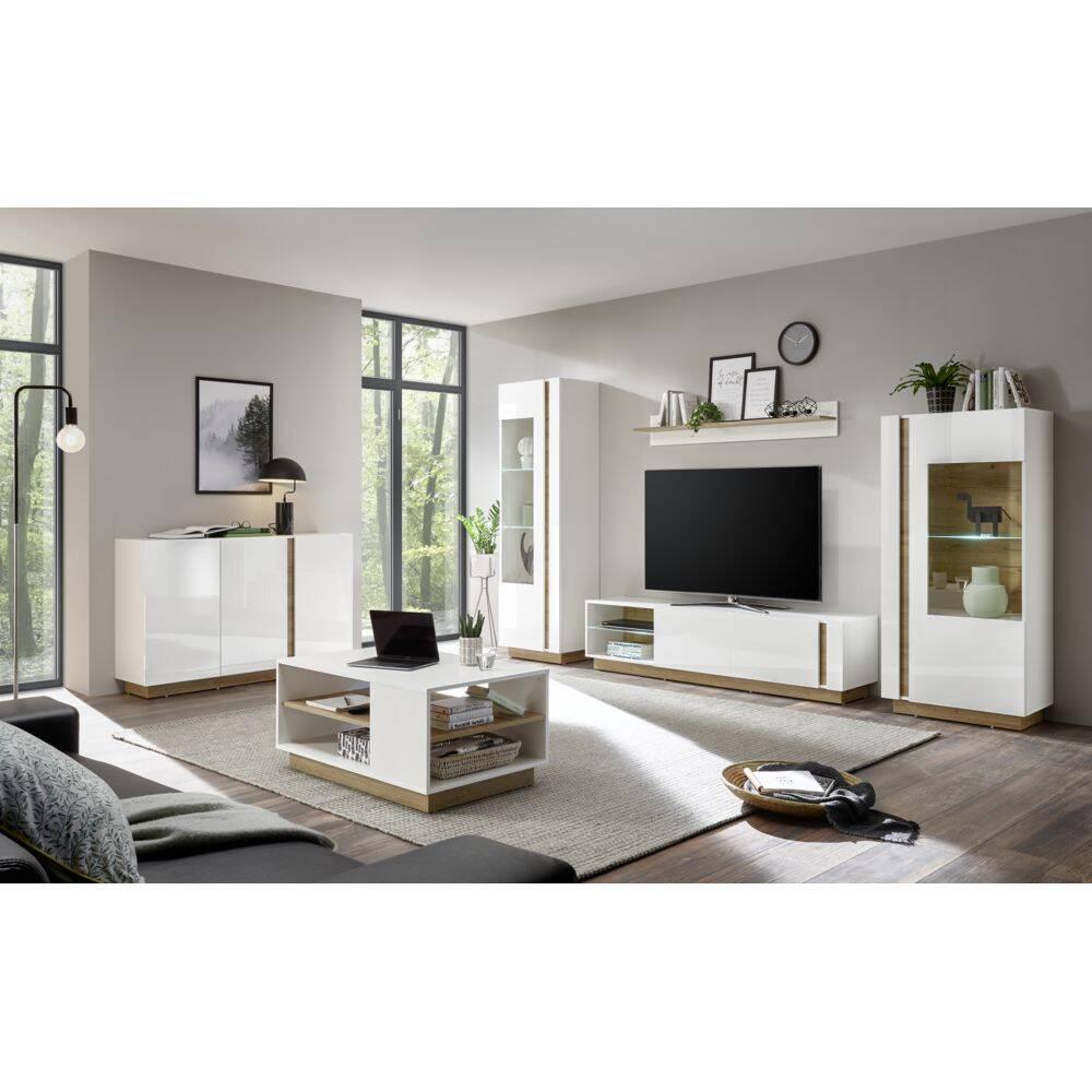 Wohnzimmer-Set mit Sideboard & Couchtisch CELLE-61 in Hochglanz weiß mit Wotaneiche, B/H/T ca. 340/194/40 cm
