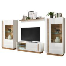 Wall unit in high-gloss white with Wotan oak CELLE-61...