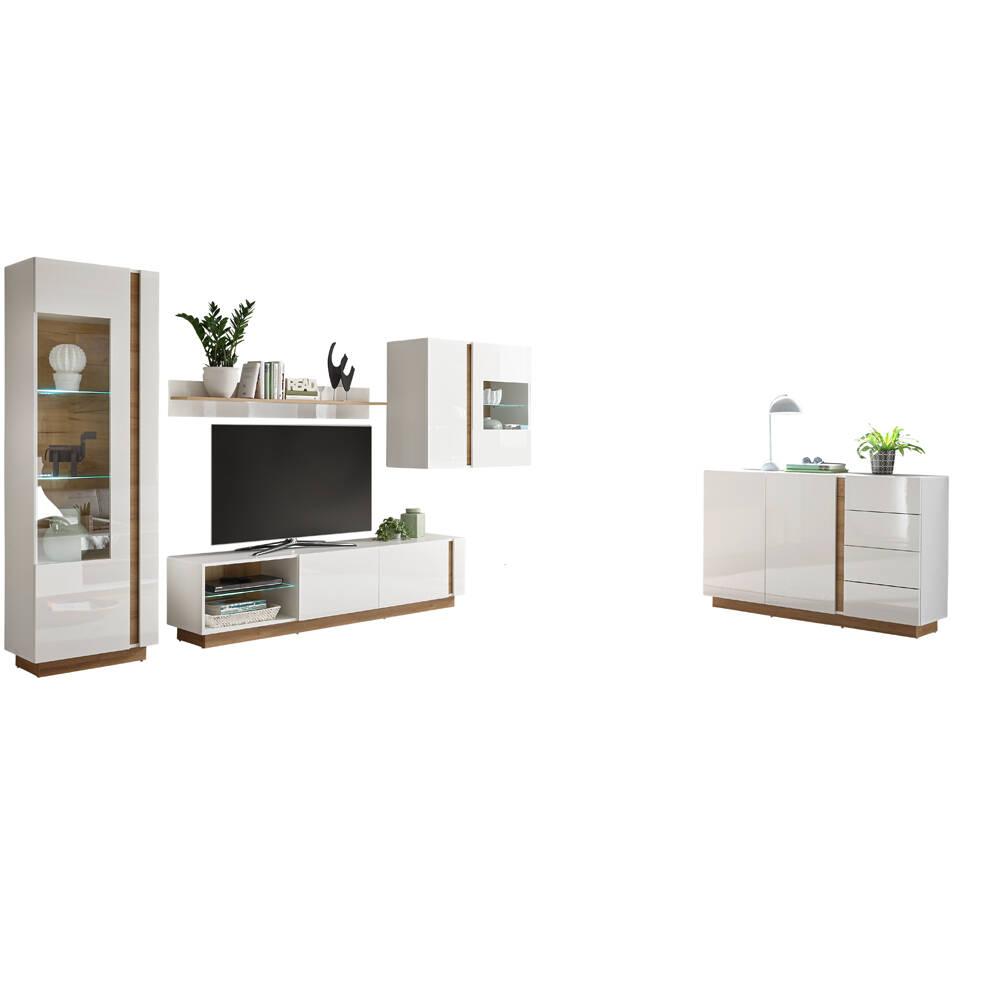 Moderne Wohnwand und Anrichte CELLE-61 in Hochglanz weiß mit Wotaneiche, B/H/T ca. 315/194/40 cm