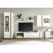 Storage wall with sideboard CELLE-61 high gloss white...