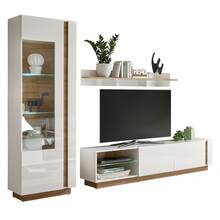 TV media wall unit in high-gloss white with Wotan oak...