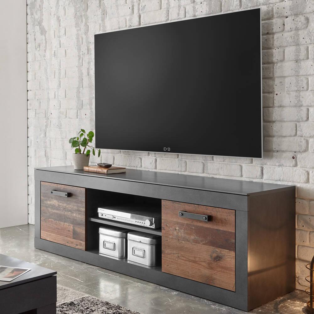 Industrial Design TV-Lowboard BERLIN-61 in Old Mix Dekor mit Matera grau, B/H/T ca.: 153/51/43 cm