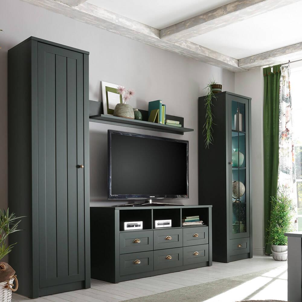 Landhaus Wohnwand mit 2 Vitrinen und TV-Lowboard ATHEN-61 in edlem englisch-grün, B/H/T: 270/198/43 cm