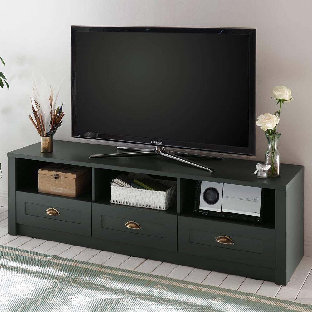 Landhaus TV Lowboard ATHEN-61 in edlem englisch-grün, mit 3 Schubkästen, B/H/T: 158/47/43 cm