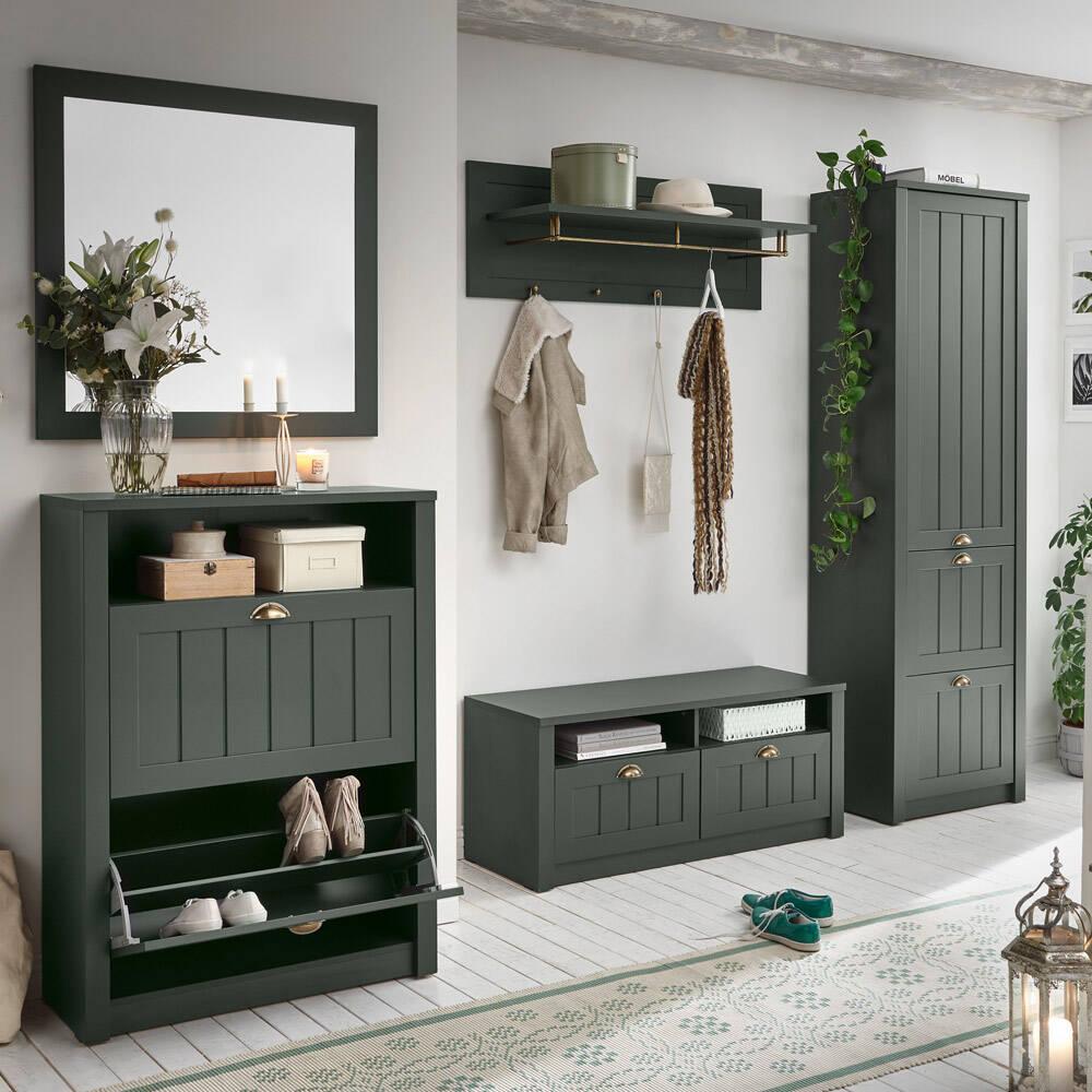 Garderobenmöbel Set im Landhausstil ATHEN 21 in englisch grün, B/H/T  21/21/21cm