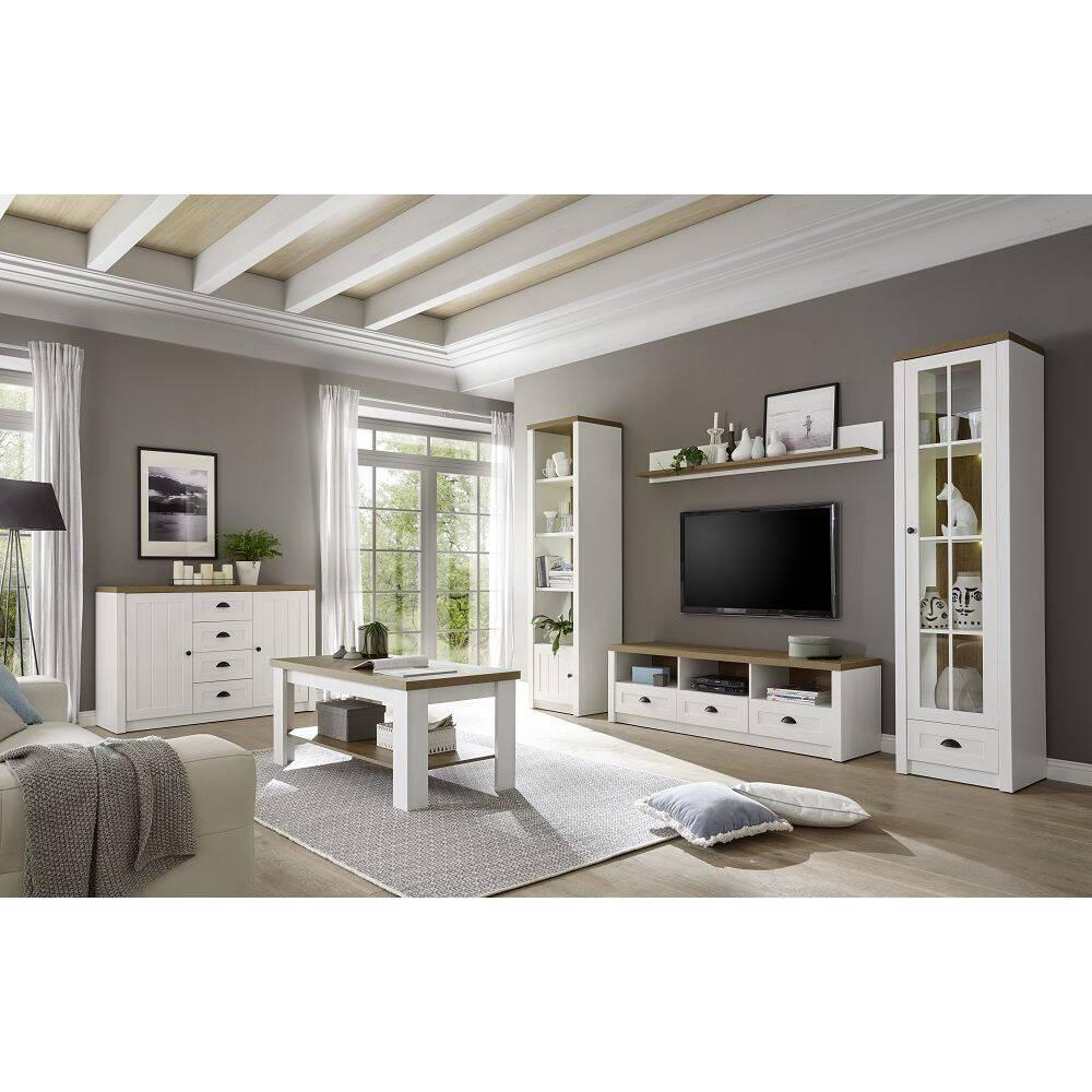 Landhaus Wohnwand Set mit Anrichte PISA-61 in Pinie weiß und Eiche hell, inkl. Beleuchtung, B/H/T: 450/198/43cm
