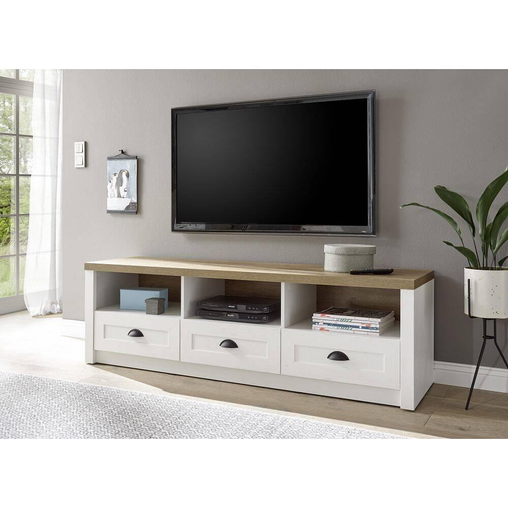 Landhaus TV-Lowboard 160cm PISA-61 in Pinie weiß und Eiche hell, B/H/T ca.: 160/47/43 cm