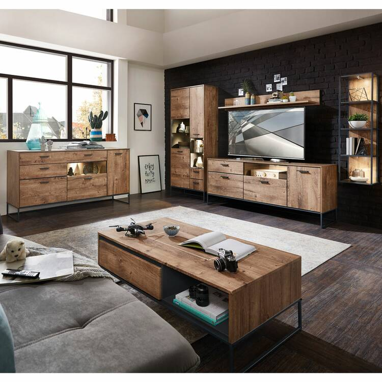 Wohnzimmer Möbel Serie MINNEAPOLIS-9 in Haveleiche Cognac mit graphit