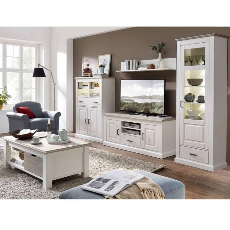Wohnzimmer Sitzsack Chacos In Weiß Taupe: Wohnzimmer Möbel Serie LEER-55 In Pinie Weiß Mit Abs