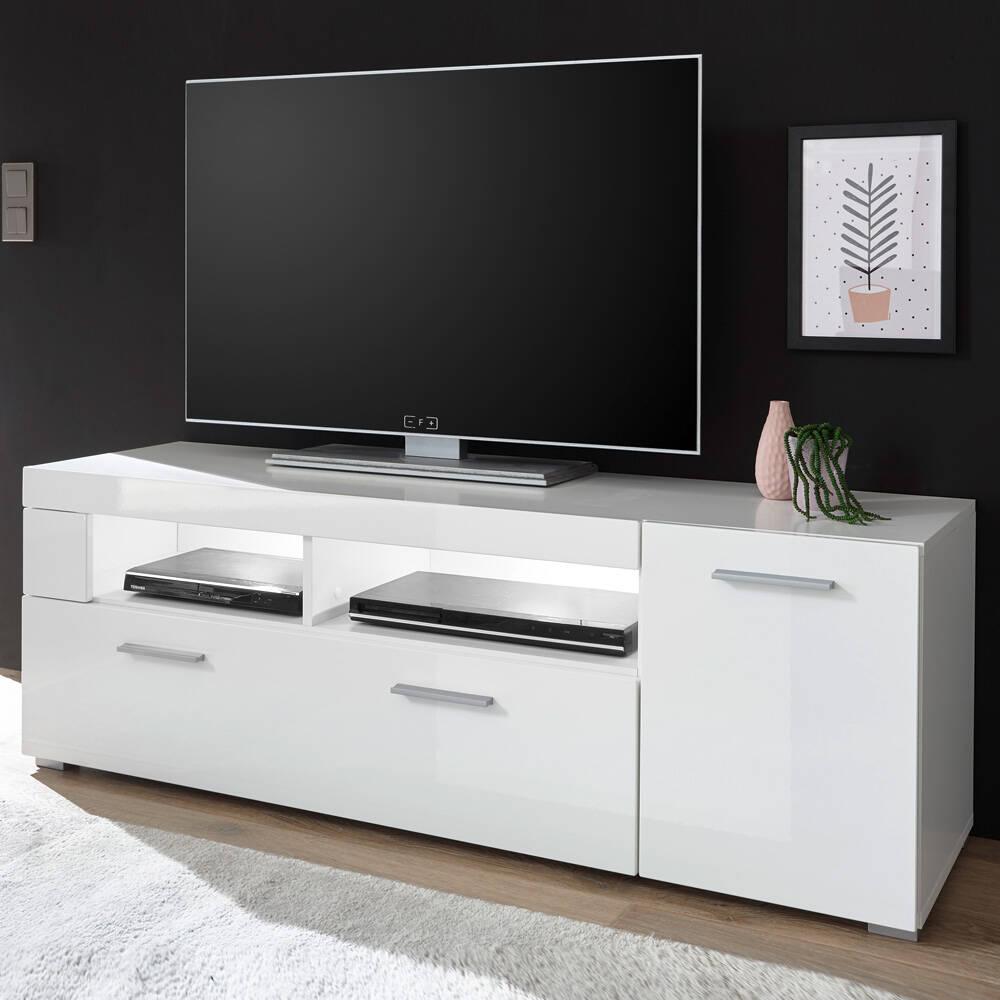 TV-Lowboard CLAVI-61 in Hochglanz weiß, B/H/T ca.: 140/48/40 cm