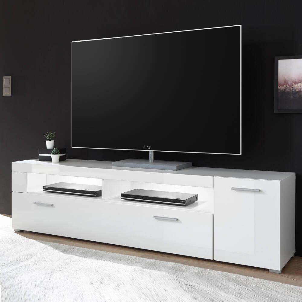 TV-Lowboard 180cm CLAVI-61 in Hochglanz weiß, B/H/T ca.: 180/48/40 cm