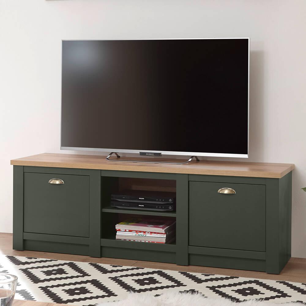Landhaus TV-Lowboard CINCINNATI-61 in grün mit Wotaneiche, B/H/T: 152/51/45cm