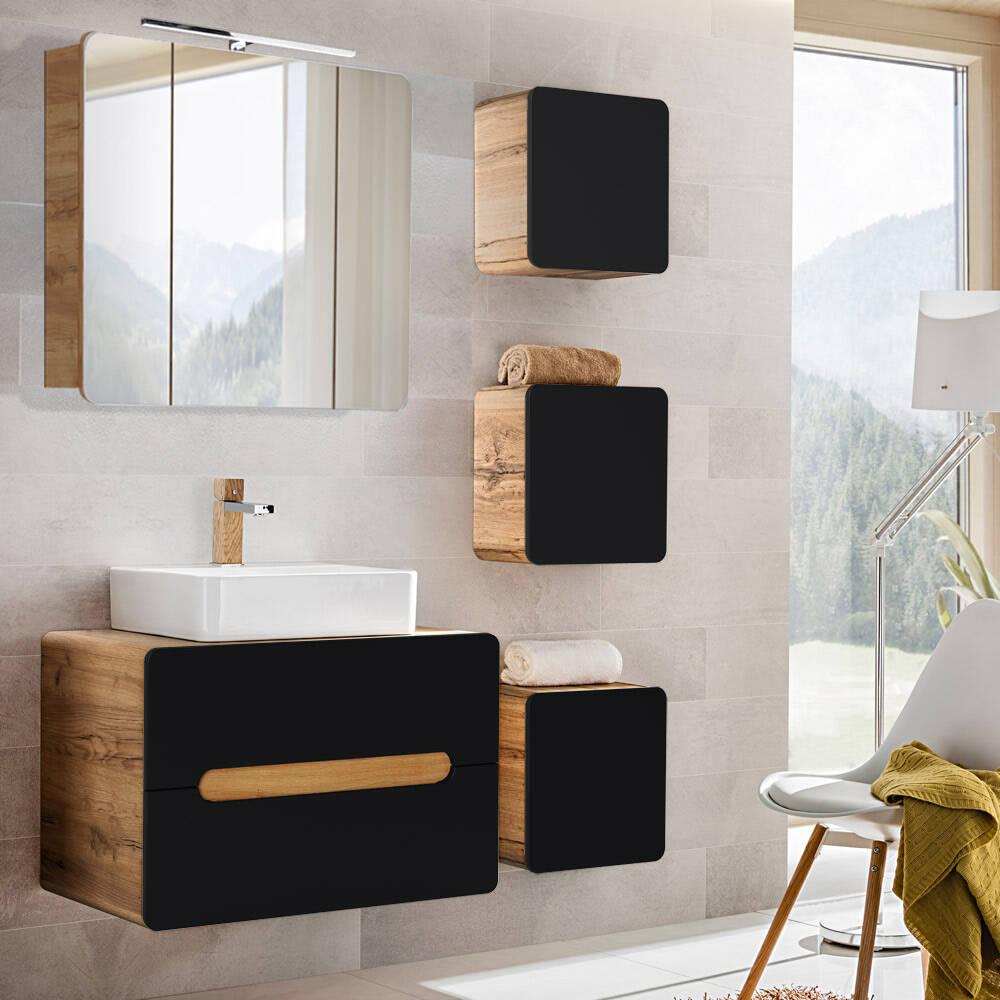 Badmöbel-Set seidenmatt anthrazit mit Wotaneichn NEW-LUTON Keramik-Waschbecken & LED-Spiegelschrank, B/H/T ca.: 130/200/46 cm