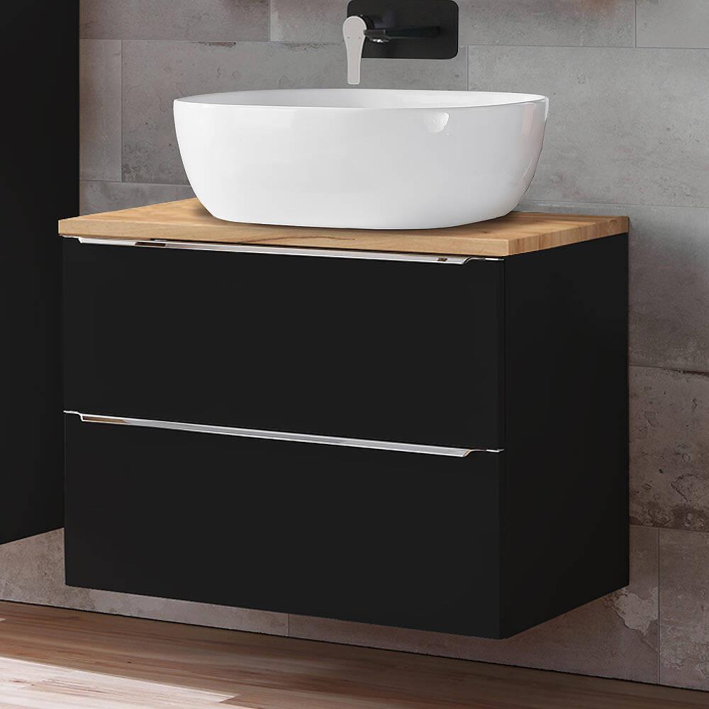 Badezimmer Waschtisch Set mit 20cm Keramik Aufsatzwaschbecken  TOSKANA BLACK 20 seidenmatt anthrazit & Wotaneiche BxHxT ca. 20/20/20cm