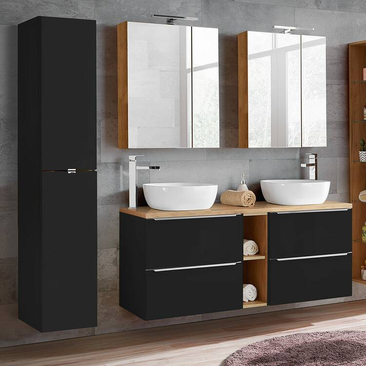 Bathroom Furniture Set With Double Wash Place With Ceramic Top Basin T