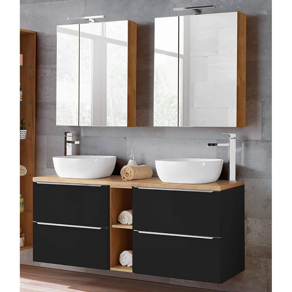 Badezimmer Set mit 200 Keramik Aufsatzwaschbecken und 200 Spiegelschränken  TOSKANA BLACK 20 seidenmatt anthrazit & Wotaneiche BxHxT ca. 20/20/20cm
