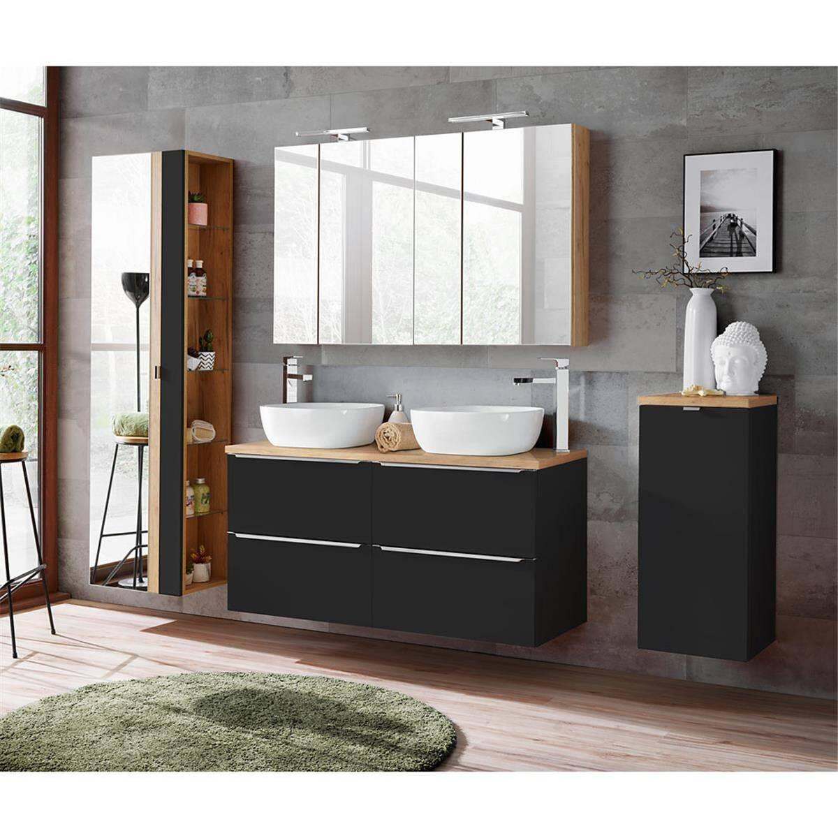 Badmöbel Set seidenmatt anthrazit & Wotaneiche TOSKANA-BLACK-56 mit Waschtisch inkl. Keramik-Waschbecken, LED-Spiegelschrank und Wäschesammler,
