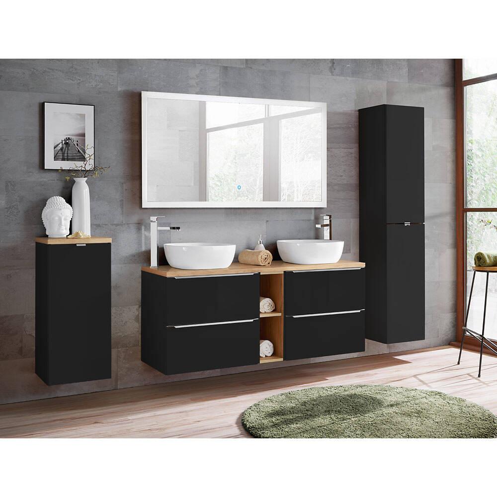 Badmöbel Komplett-Set seidenmatt anthrazit mit 140 cm Doppel-Waschtisch, Hochschrank inkl. LED-Touch-Spiegel, BxHxT ca. 250/190/48cm