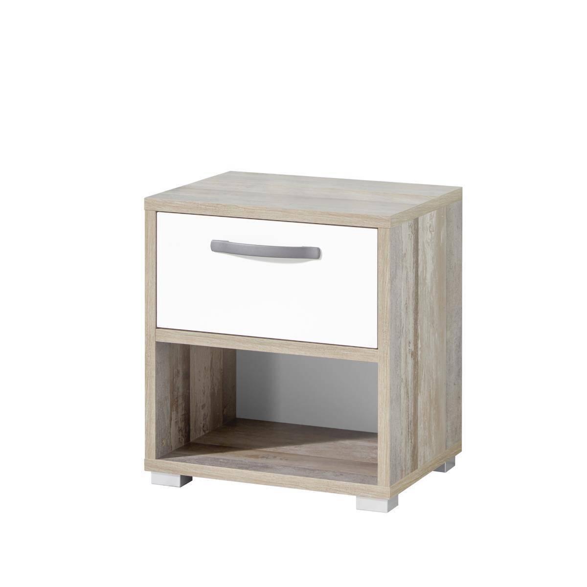 Jugendzimmer Nachtkommode MAUI-78 Driftwood / weiß B:H:T ca. 49x52x41cm