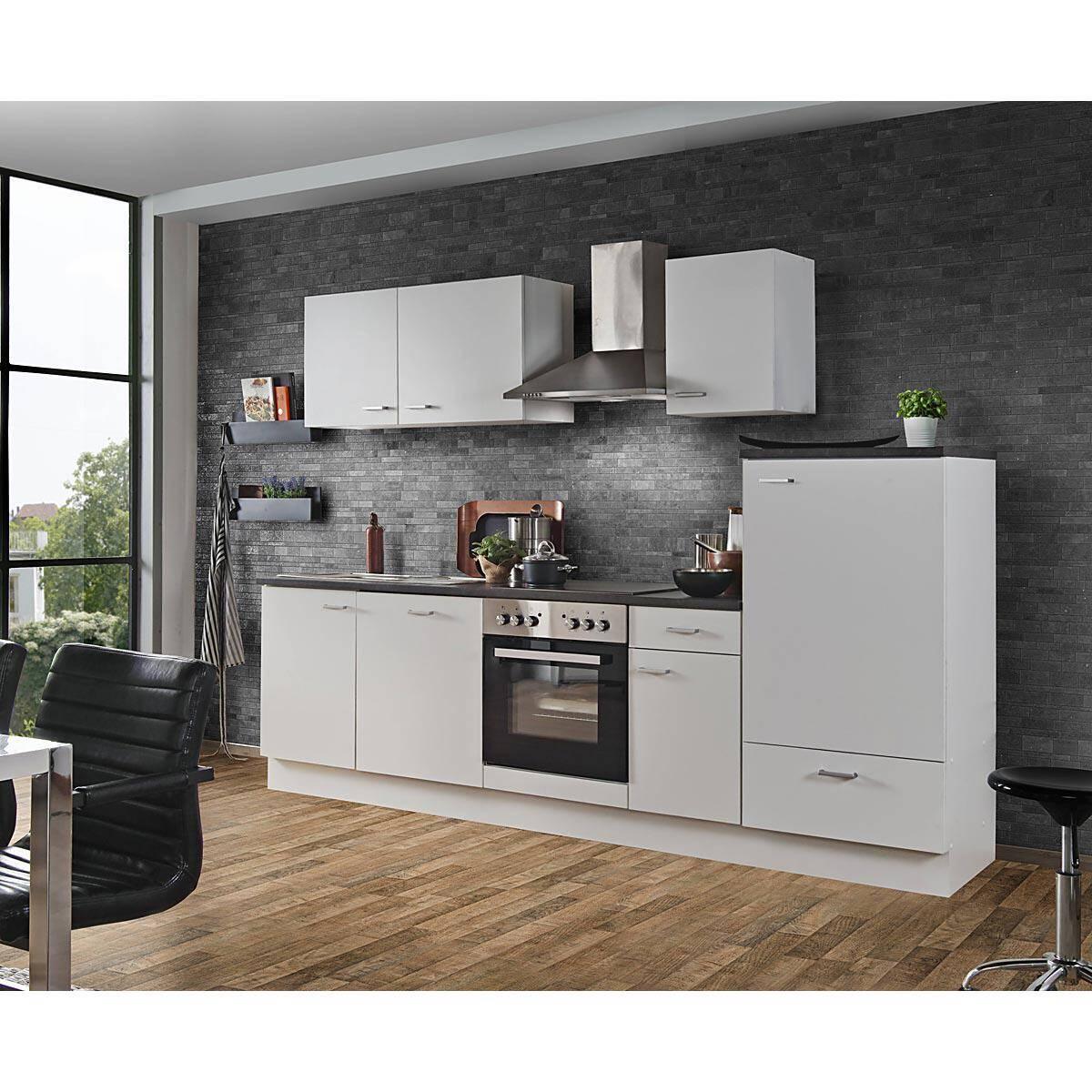 Küchezeile mit Geräten Weiss 12 cm inklusive Geschirrspüler E-Geräte  Einbauküche frei kombinierbar