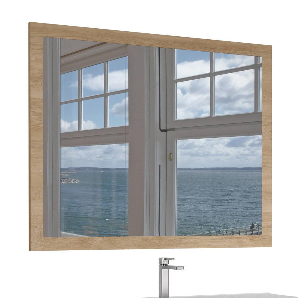Badmöbel Spiegel 100cm in Eiche natur Nb. TARIFA-110, B/H/T ca. 100/80/3cm günstig online kaufen