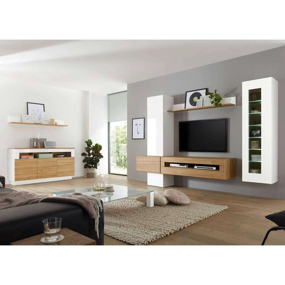 Wohnwand Set mit Sideboard CHUR 61 in Hochglanz weiß mit Eiche hell in