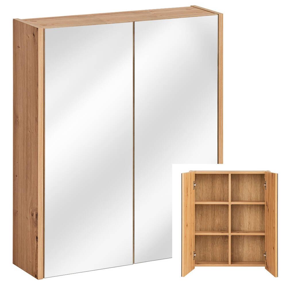 Badezimmer Spiegelschrank 60 Cm Artisan Eiche Nb 2 Softclose Turen