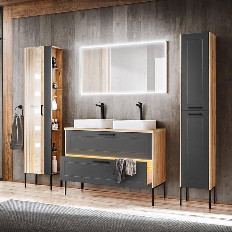 Badezimmer Hochschrank 2 Turig Mit Fussen Matera 56 Matt Grau Artisan