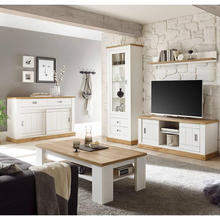 Wohnzimmer-Set in Pinie weiß mit Wotan Eiche OSIMO-10 im Landhausstil,