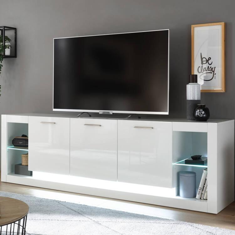 Modernes Design Wohnwand Set mit Sideboard MAILAND 61 in Hochglanz wei