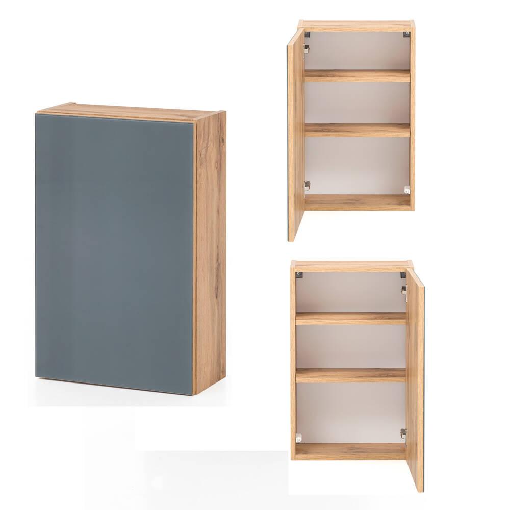 Badezimmer Hängeschrank HEERLEN-03 in Wotaneiche Nb. mit Glasfront grau, B/ günstig online kaufen