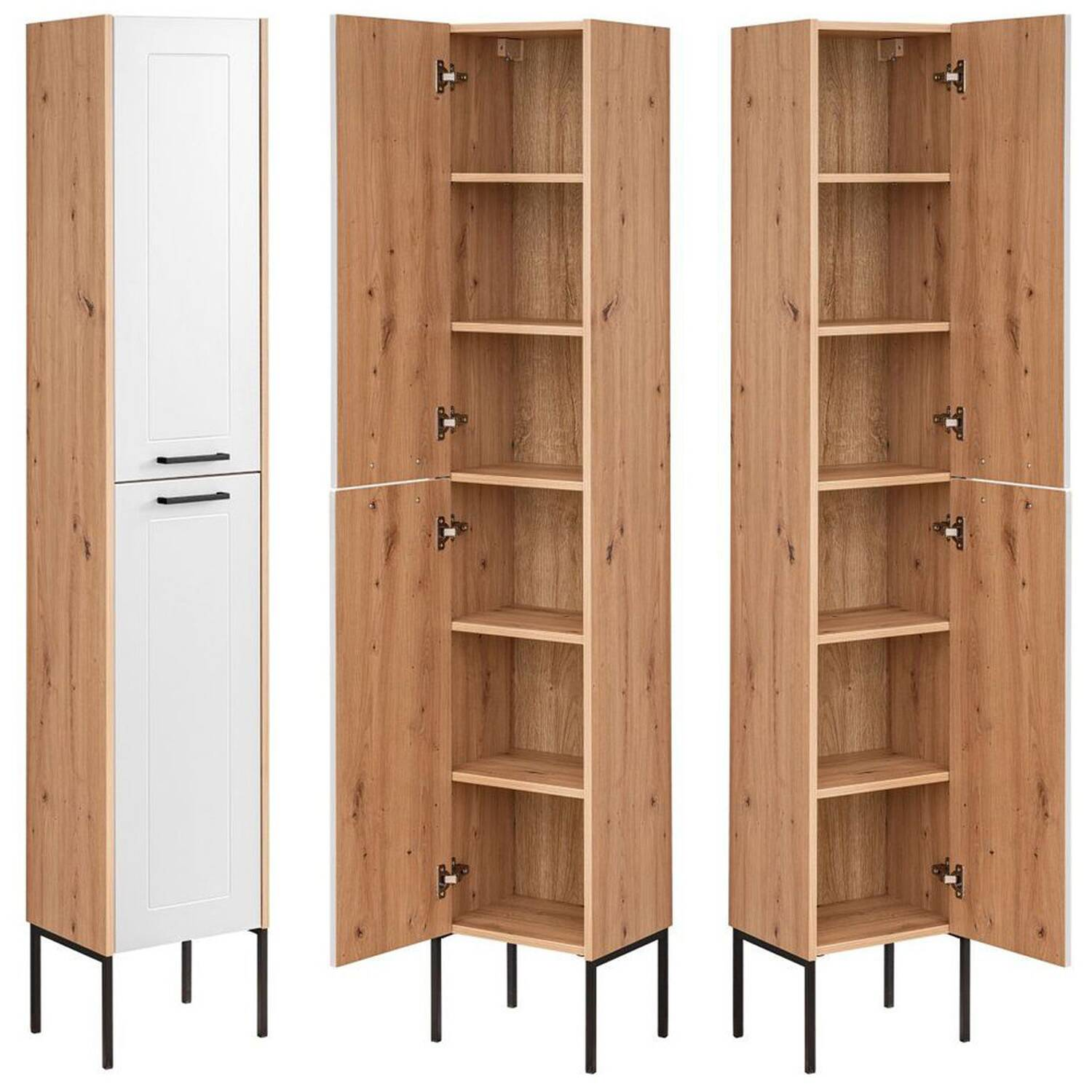 Bathroom Tall Cabinet With 2 Doors With Feet Matera 56 White Matt Whit