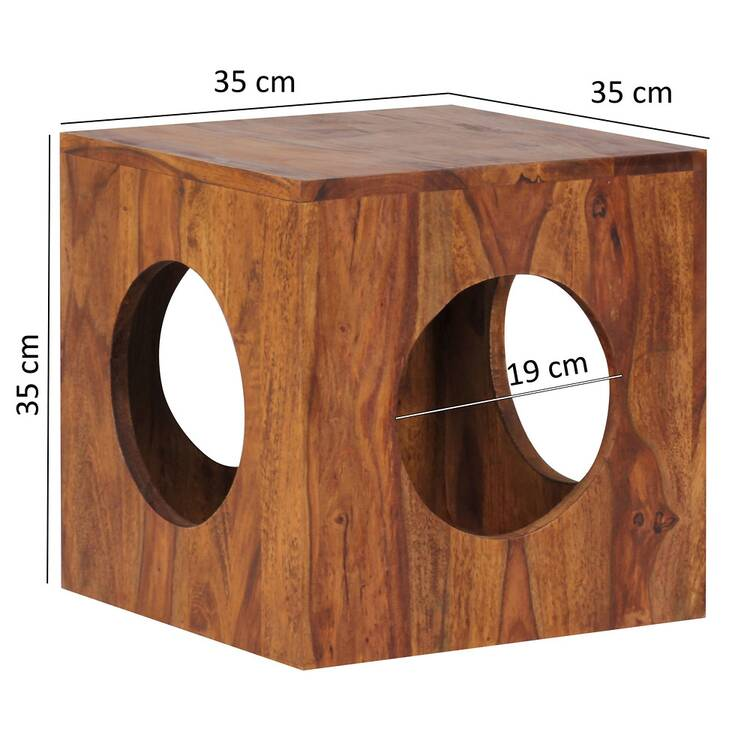 Side Table Solid Wood Sheesham Cube Living Room Table Design Country H