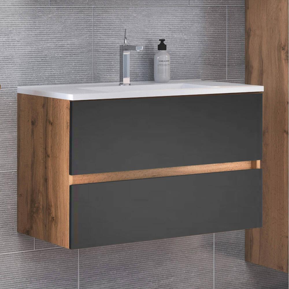 Badezimmer Waschtisch 20 cm mit Waschbecken LOUROSA 20 in Wotaneiche Nb.  mit matt grau, B/H/T ca. 20/20/20 cm