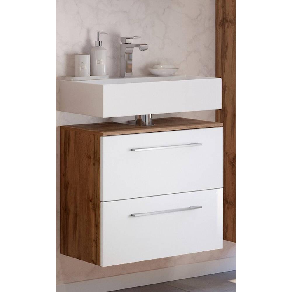 Badezimmer Waschbeckenschrank LOUNY 20 in Wotaneiche Nb. mit matt weiß,  B/H/T ca. 20/20/20 cm