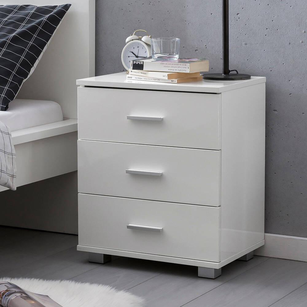 Schlafzimmer-Kommode mit Schubladen, weiß, Hochglanz, modernes Design B/H/T günstig online kaufen