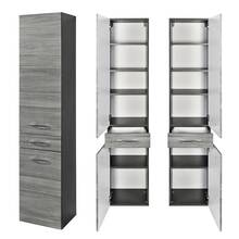 Tall cabinet FLORIDO-03 Oak smoked silver, graphite grey,...
