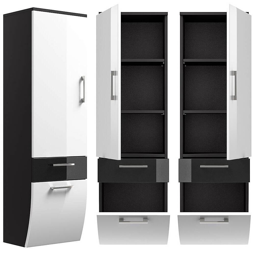 hochschrank rimao 100 hochglanz wei anthrazit. Black Bedroom Furniture Sets. Home Design Ideas