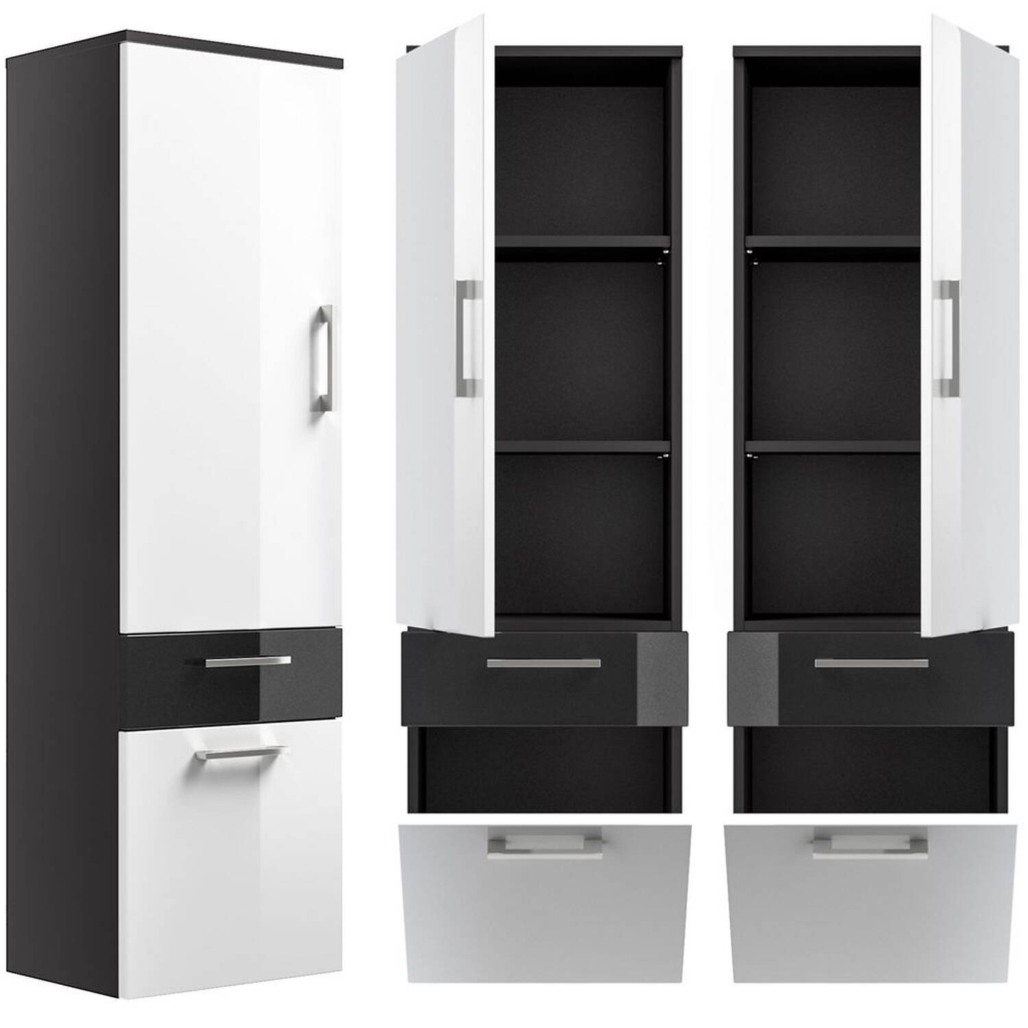 hochschrank rimao 100 hochglanz wei anthrazit. Black Bedroom Furniture Sets. Home Design Ideas