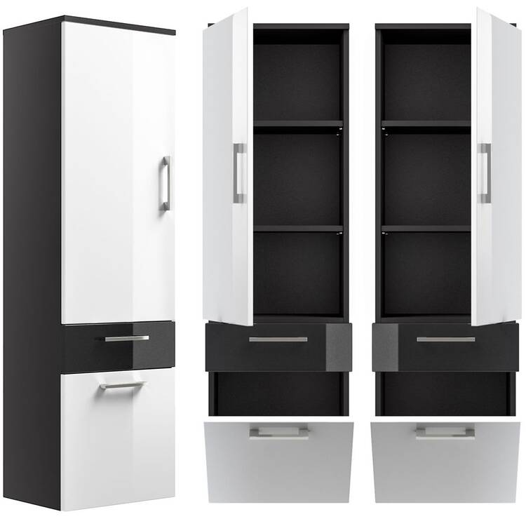 hochschrank rimao 100 hochglanz wei anthrazit lom. Black Bedroom Furniture Sets. Home Design Ideas
