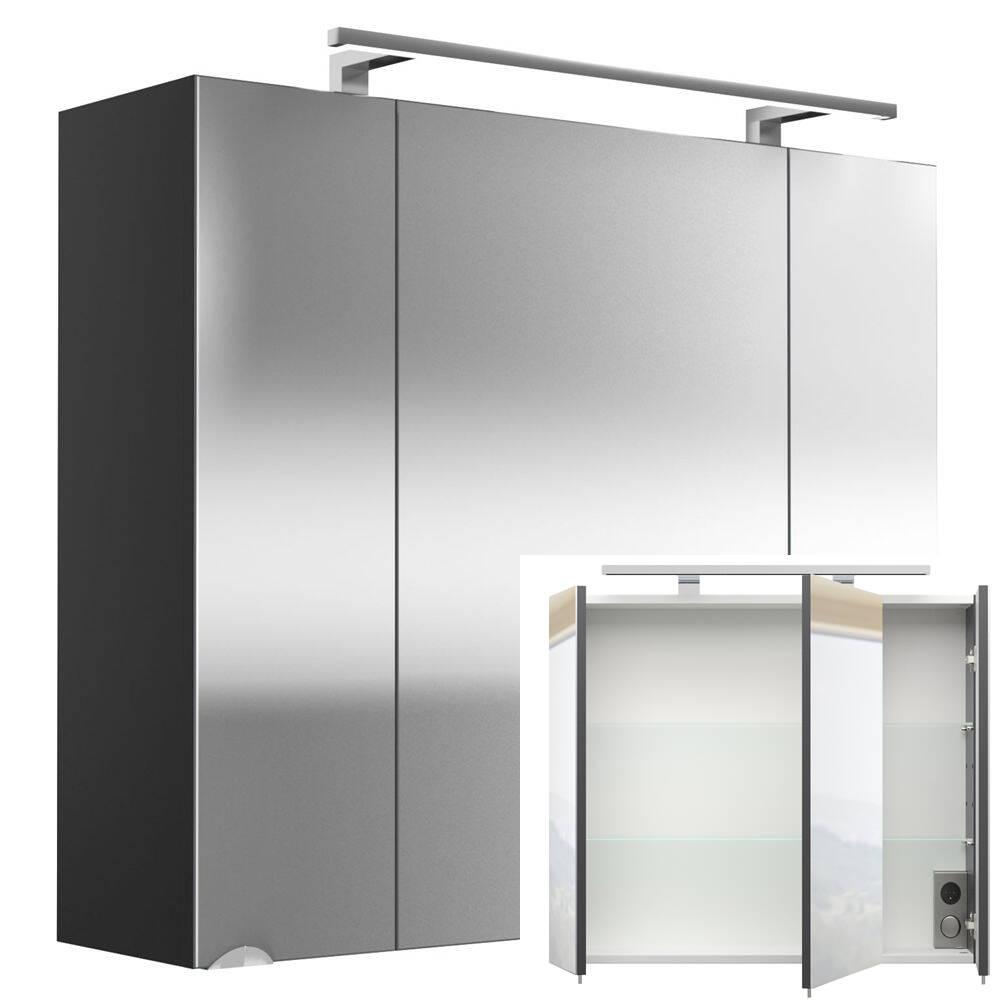 Spiegelschrank RIMAO-100 anthrazit LED-Beleuchtung, 80cm