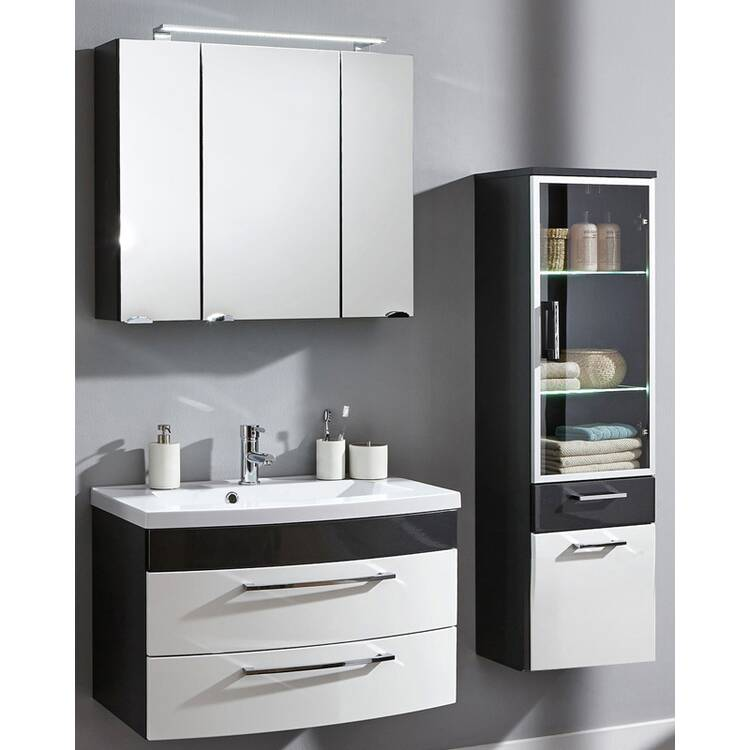 badm bel set rimao 02 hochglanz wei anthrazit 80cm. Black Bedroom Furniture Sets. Home Design Ideas